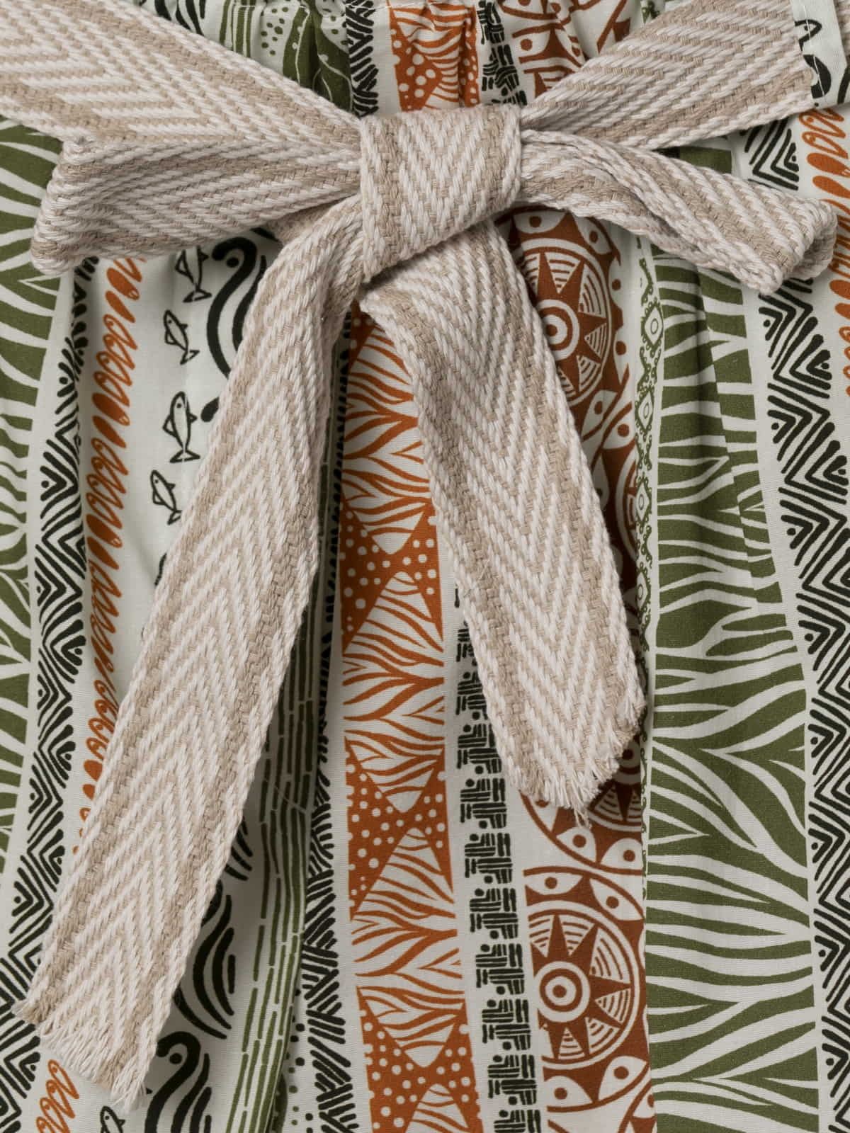 Woman Ethnic print bermuda with belt Khaki