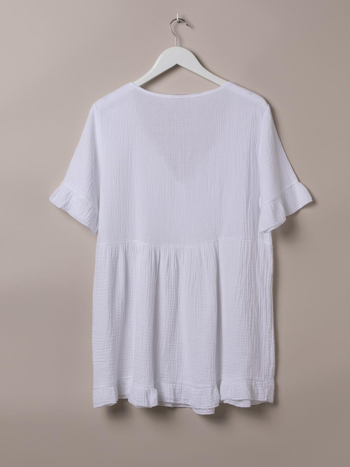 Vestido algodón arrugado cuello abierto Blanco