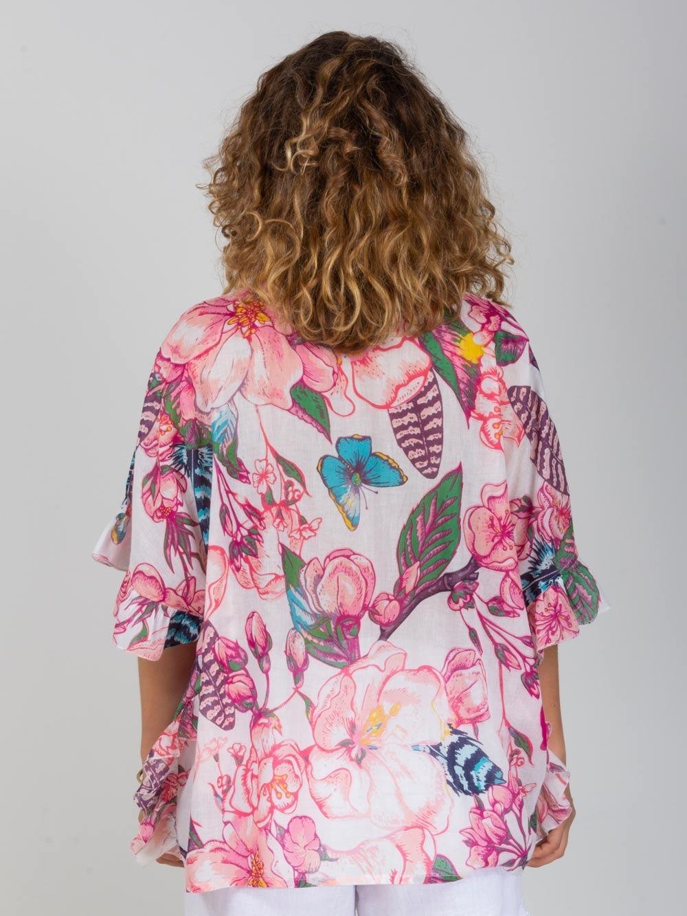 Woman Oversized ruffle shirt Pink