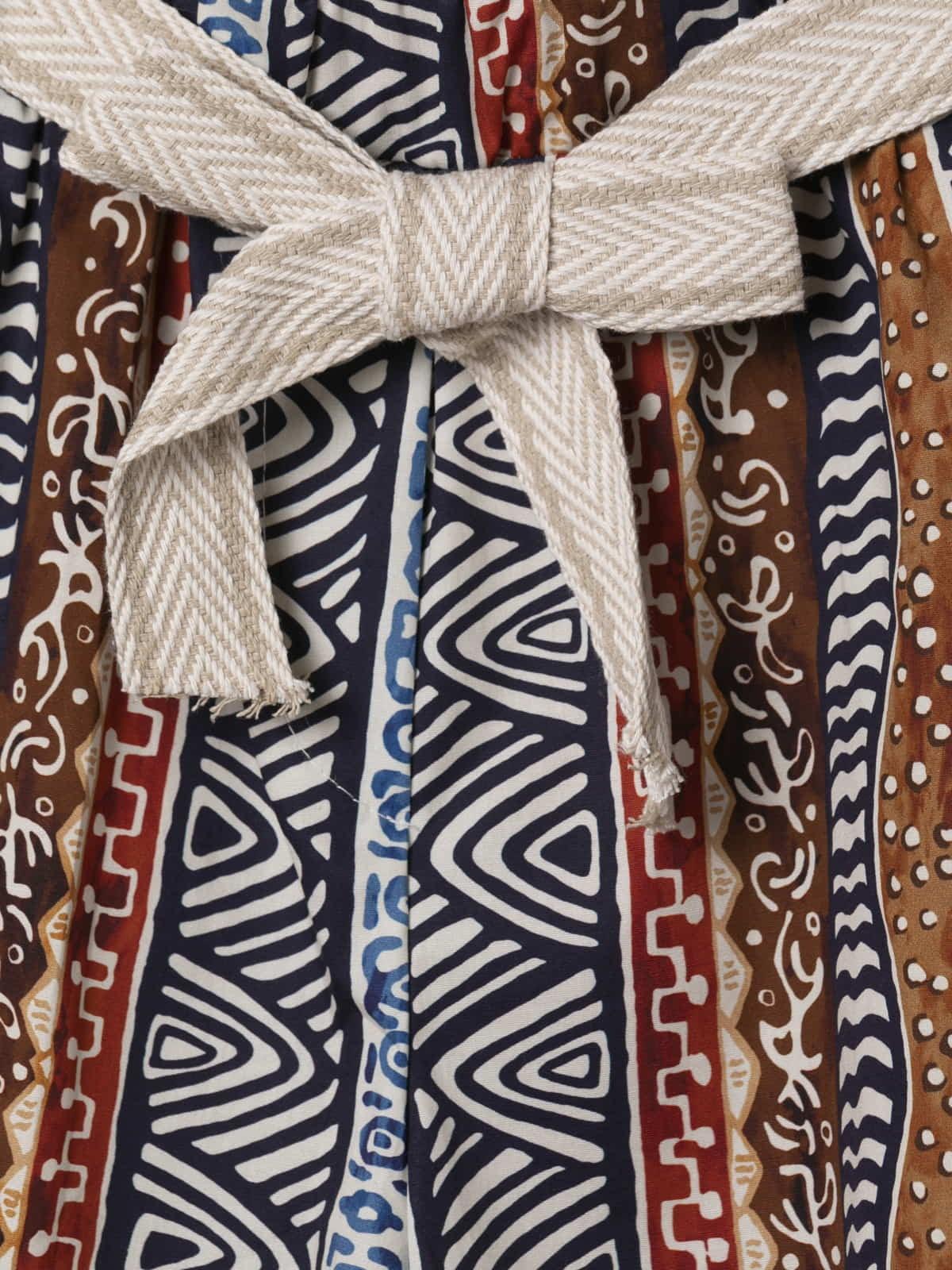 Woman Ethnic print bermuda with belt Blue Navy