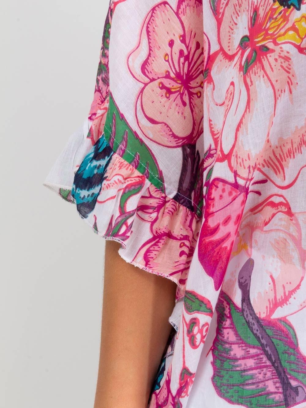 Camisa mujer oversize volante Rosa