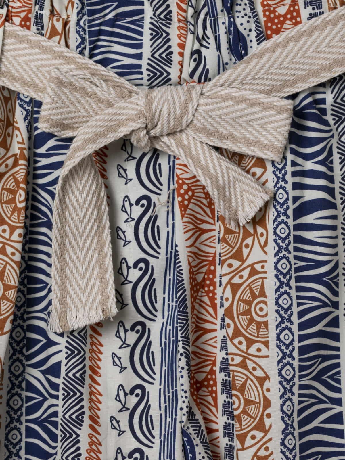 Woman Ethnic print bermuda with belt Blue