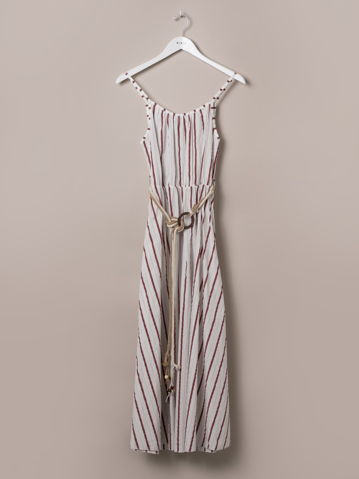 Woman Long striped belted dress Red
