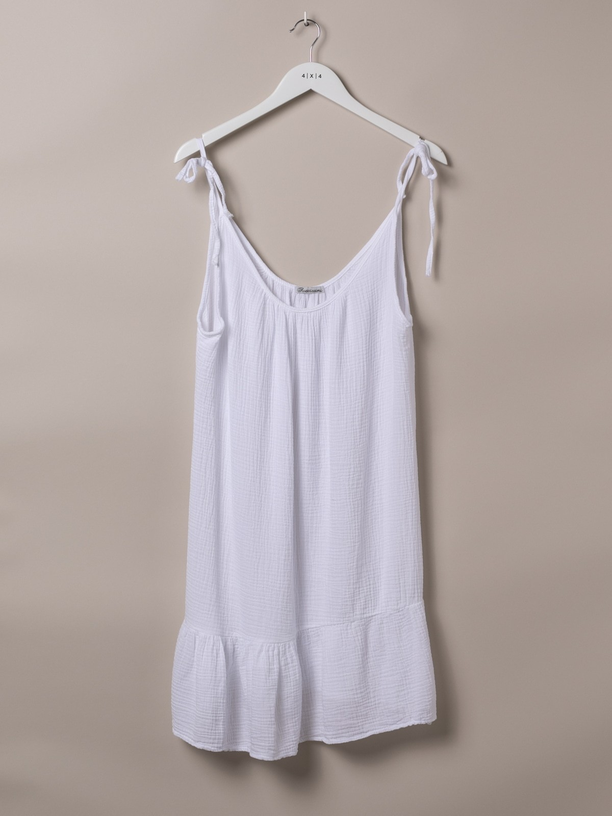 Woman Cotton top with adjustable strap White