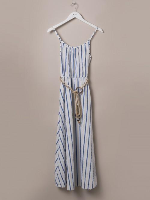 Woman Long striped belted dress Blue