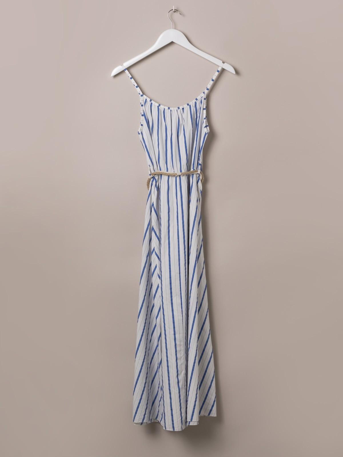 Vestido con cinturón largo de rayas Azul