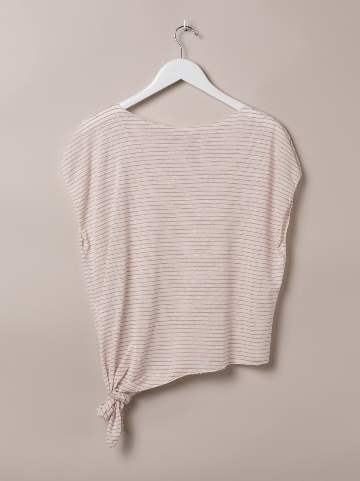 Camiseta mujer de rayas anudada Rosa