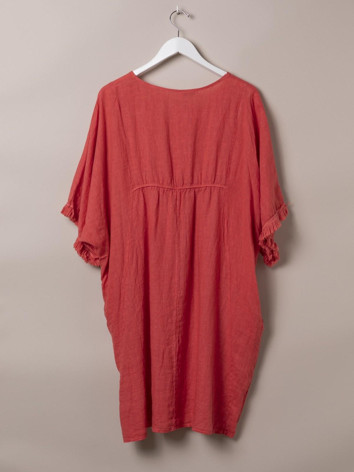 Woman Linen Kaftan Dress Coral