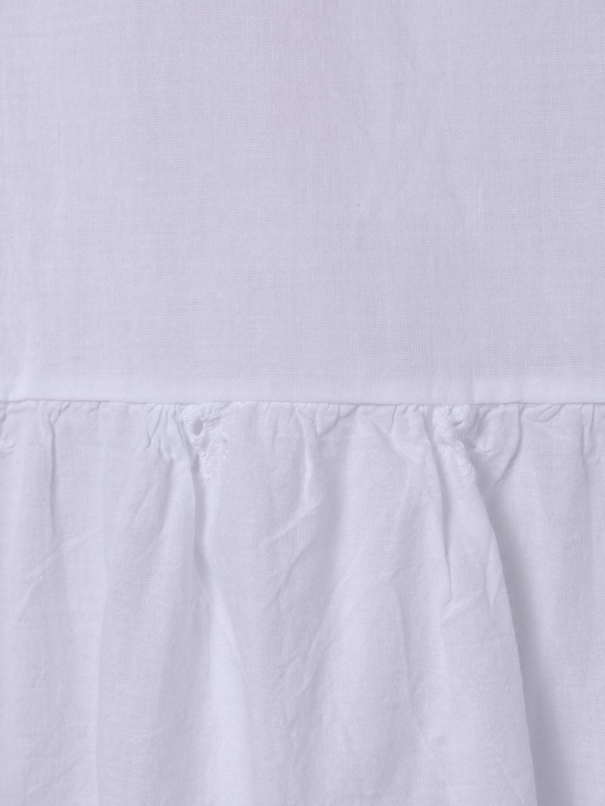 Camisa mujer flocada cuello pico Blanco