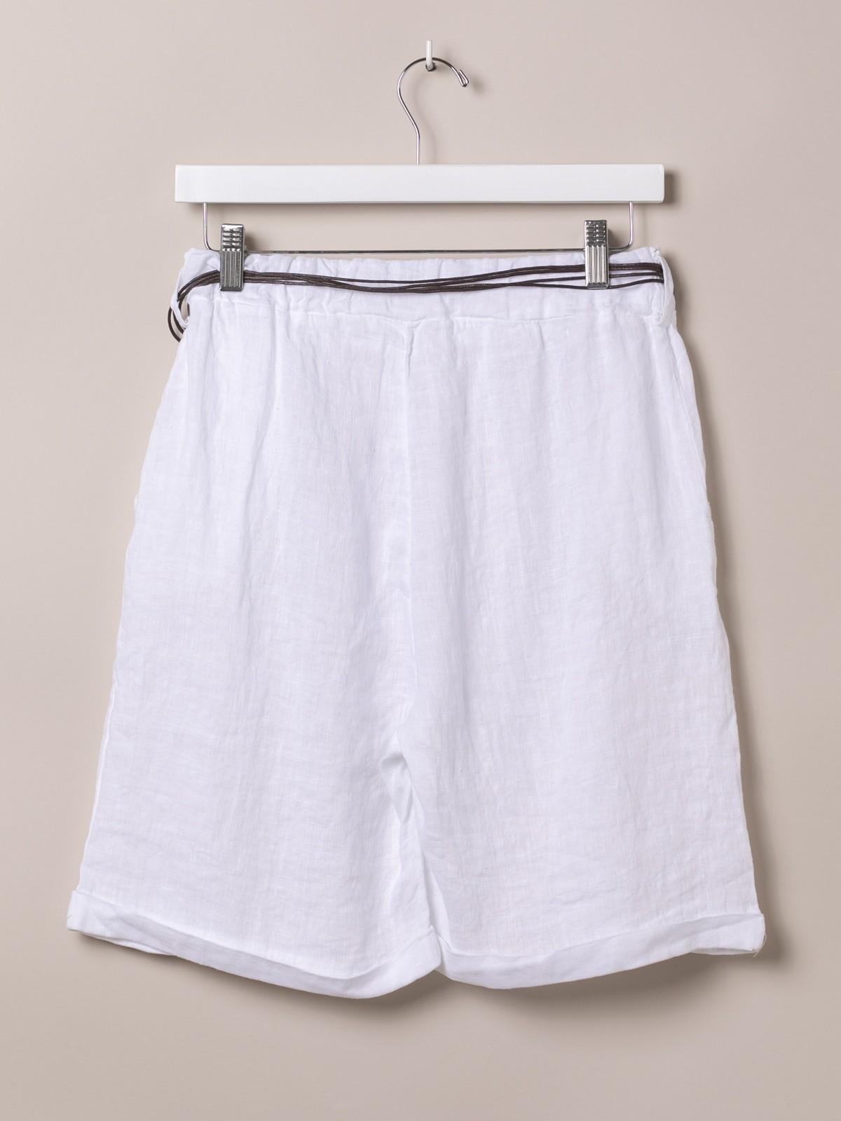 Bermuda oversize mujer de lino con cinturón Blanco