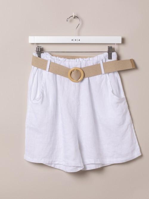 Bermuda mujer de lino con cinturón Blanco