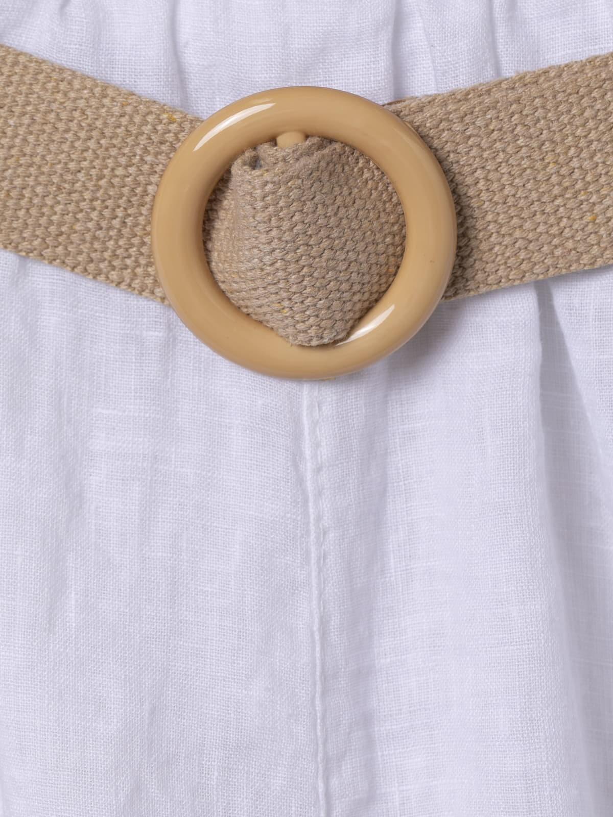 Woman Linen bermuda shorts with belt White