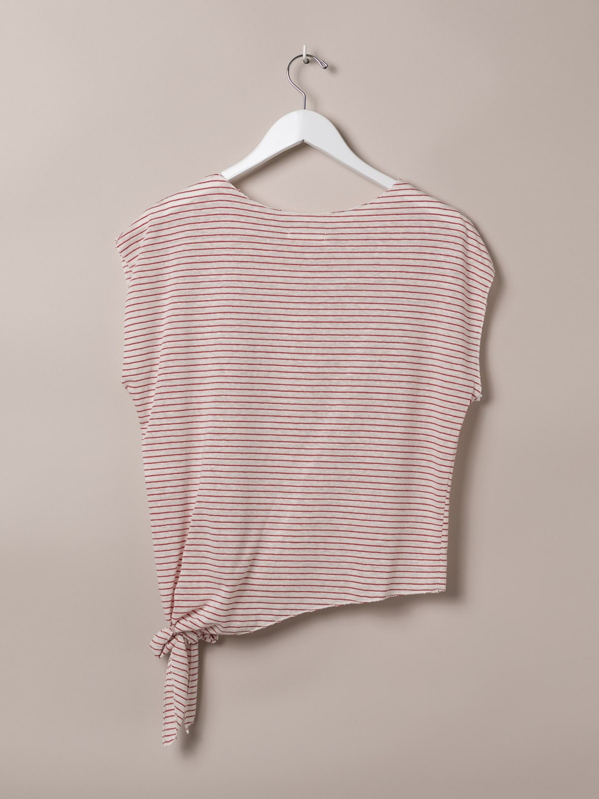 Woman Knotted striped t-shirt Red