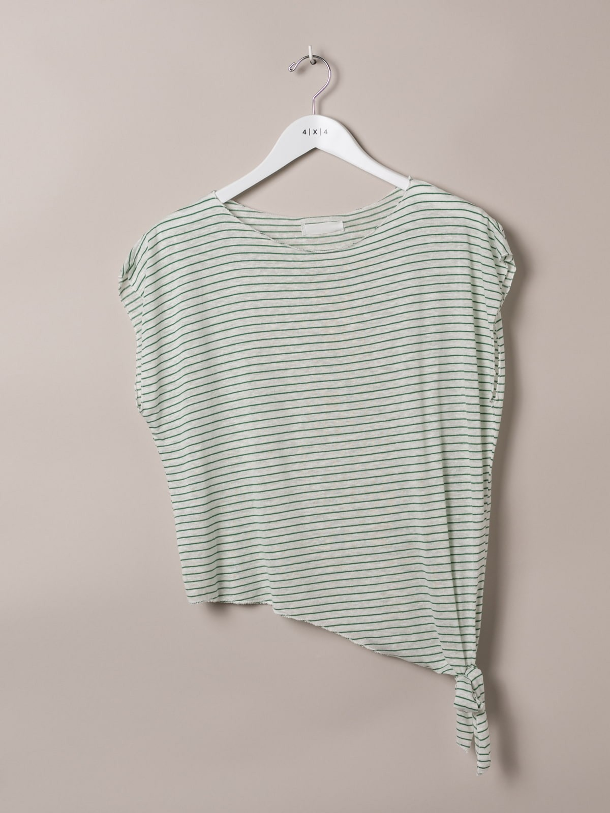 Woman Knotted striped t-shirt Green