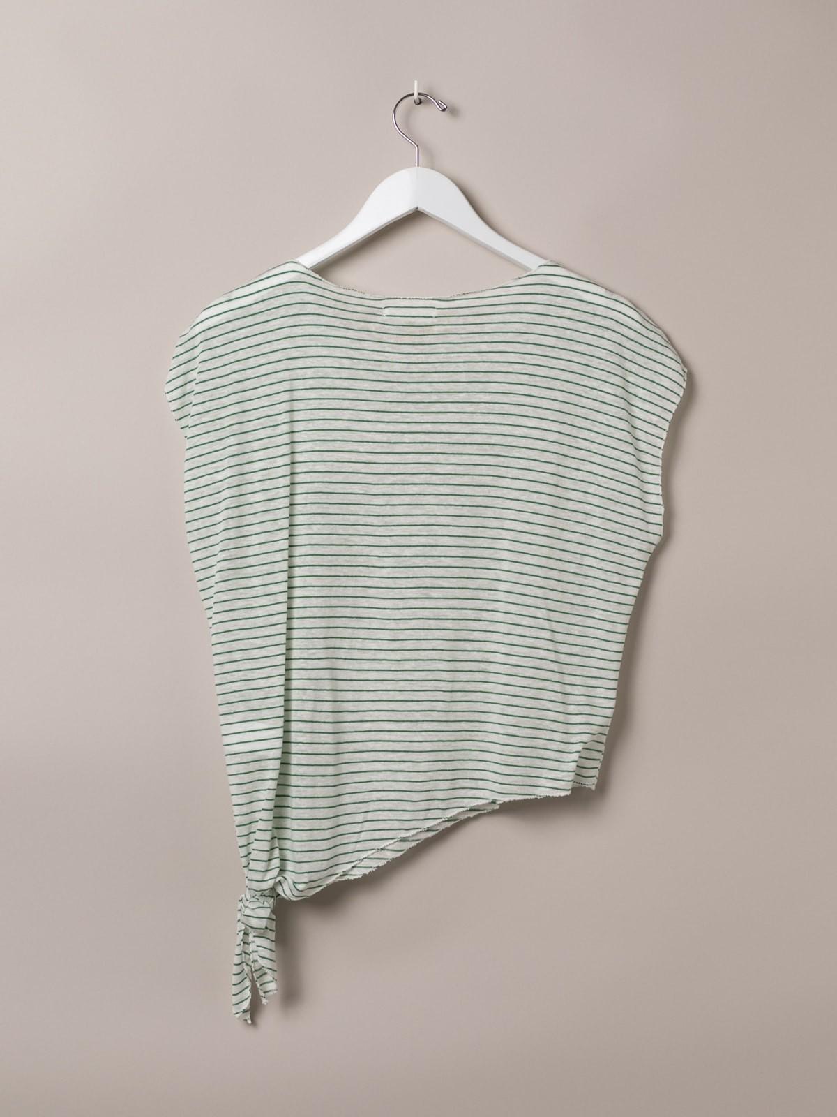 Camiseta mujer de rayas anudada Verde