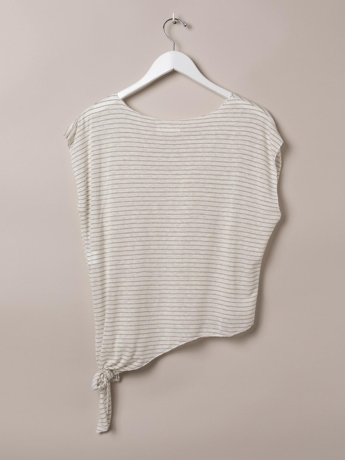 Camiseta mujer de rayas anudada Beige