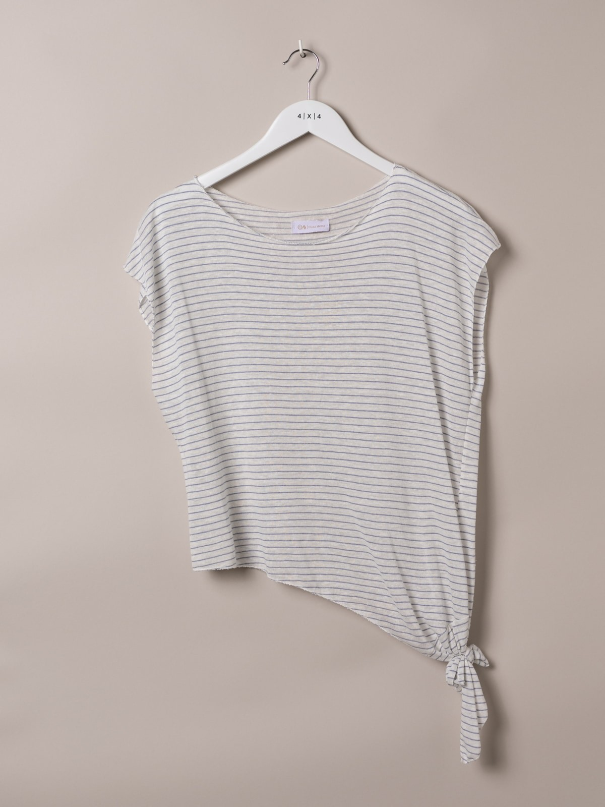 Woman Knotted striped t-shirt Blue