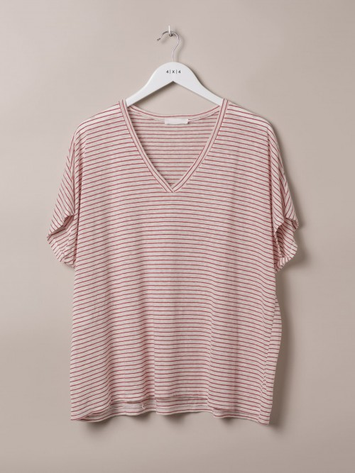 Woman Special striped V-neck T-shirt Red
