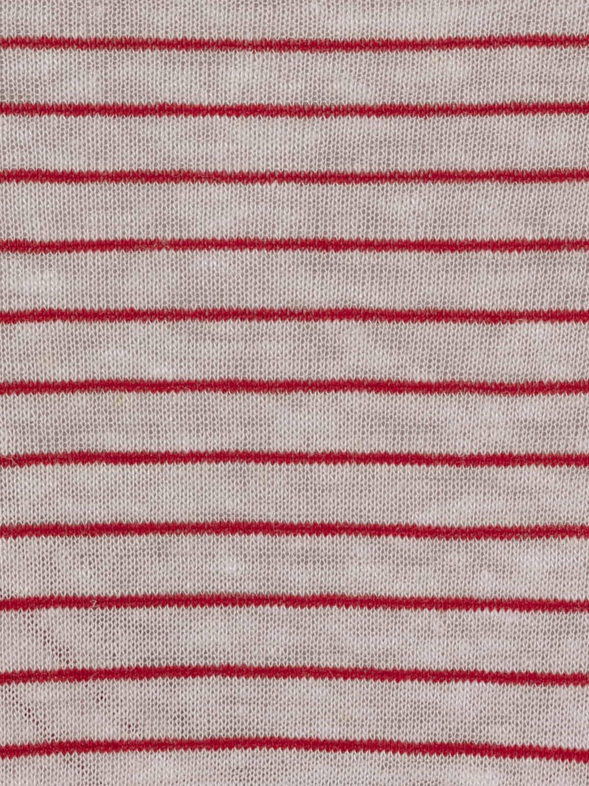Camiseta mujer especial rayas cuello pico Rojo