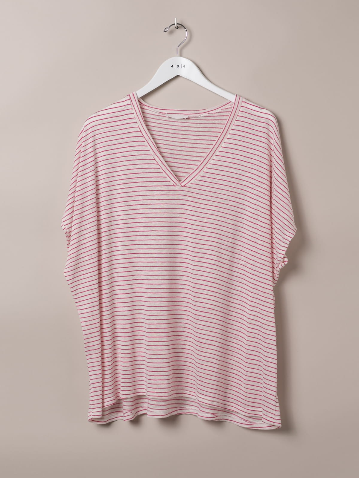 Woman Special striped V-neck T-shirt Fuchsia