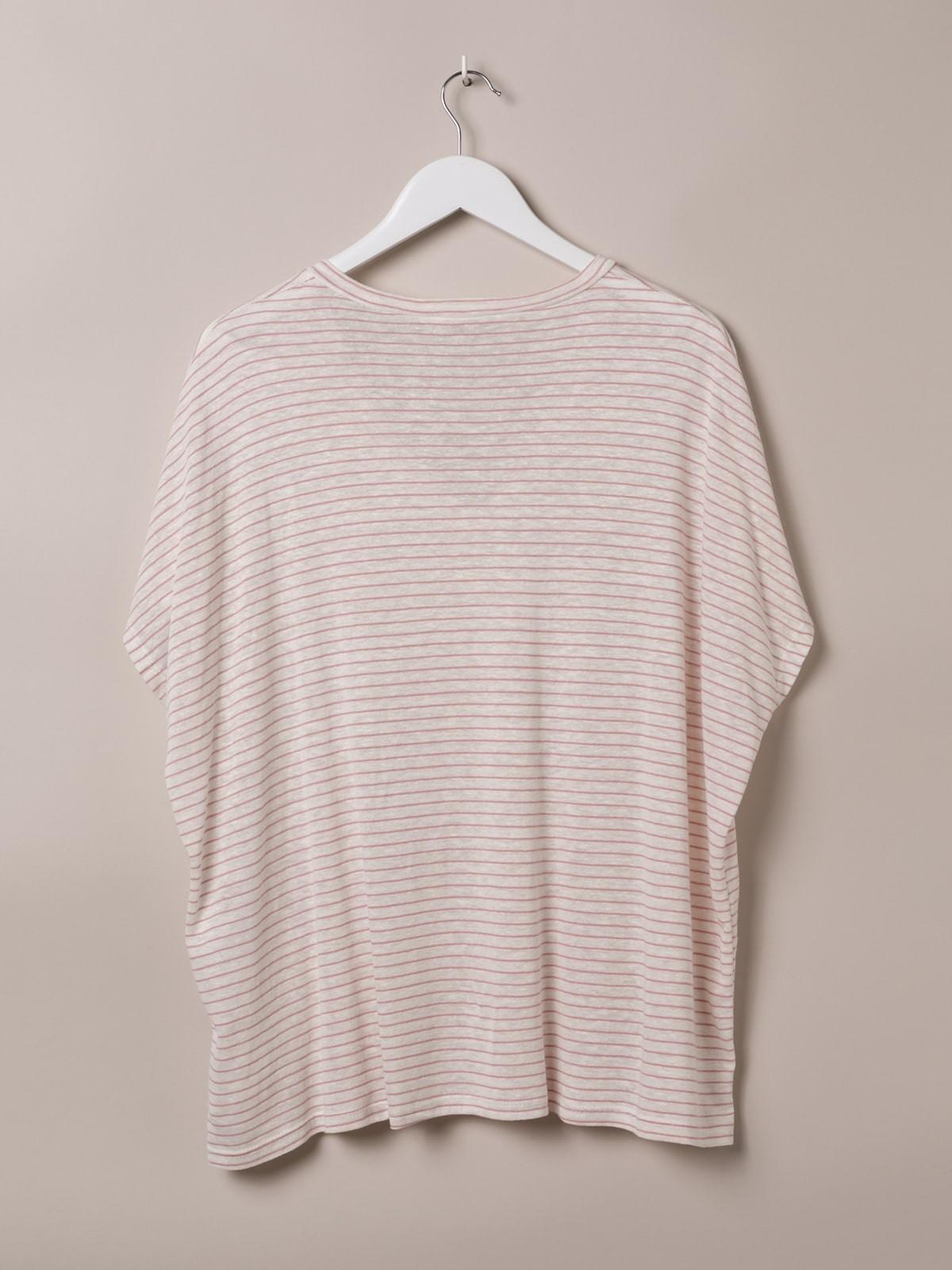 Camiseta mujer especial rayas cuello pico Rosa