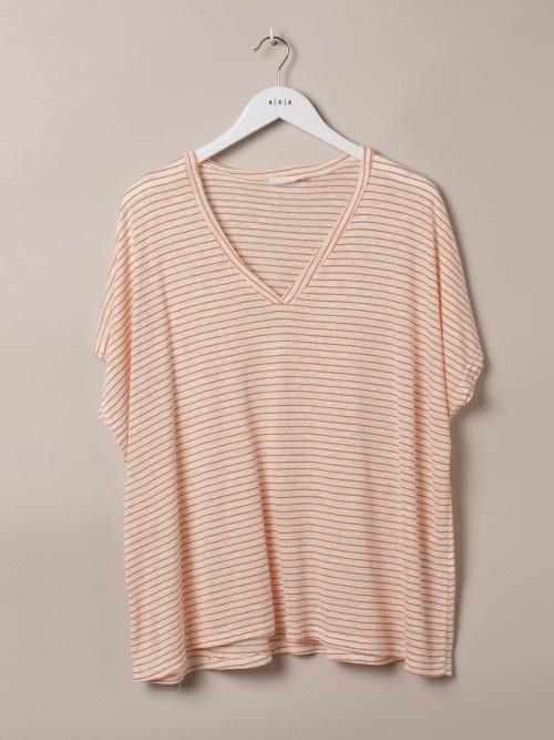 Camiseta mujer especial rayas cuello pico Naranja