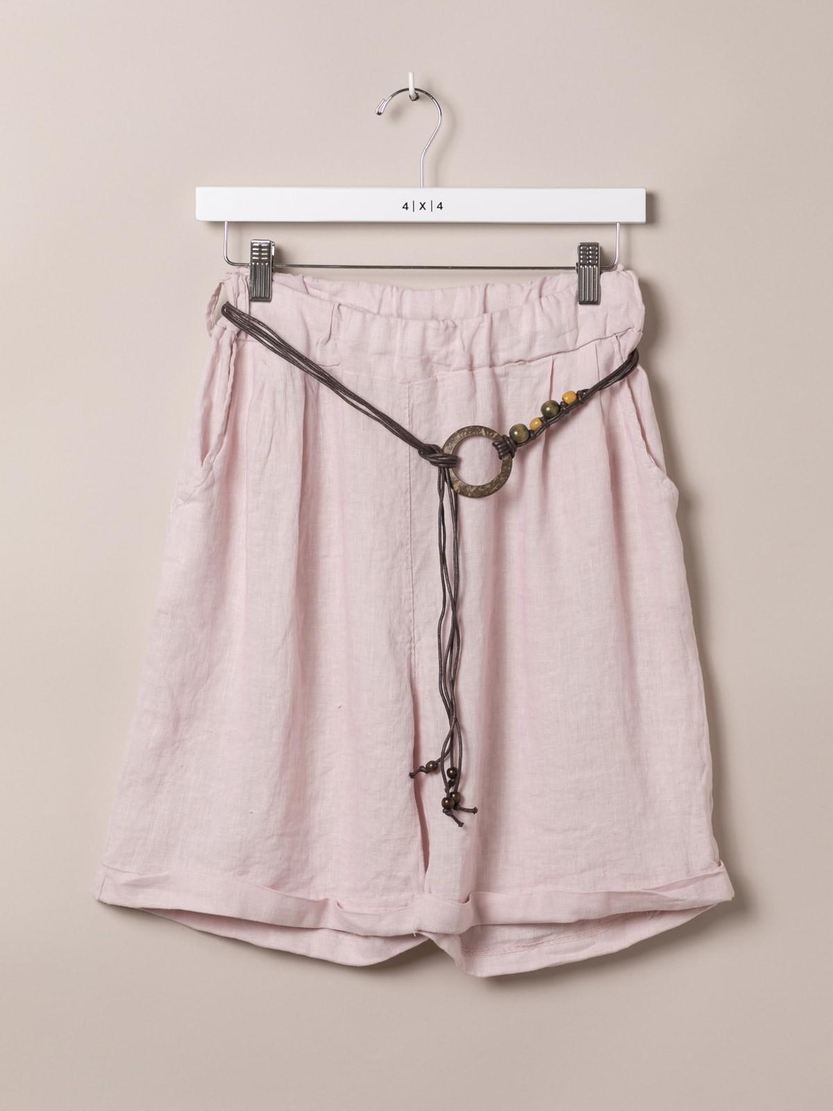 Bermuda oversize mujer de lino con cinturón Rosa