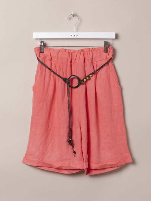 Woman Oversized linen bermuda shorts with belt Coral