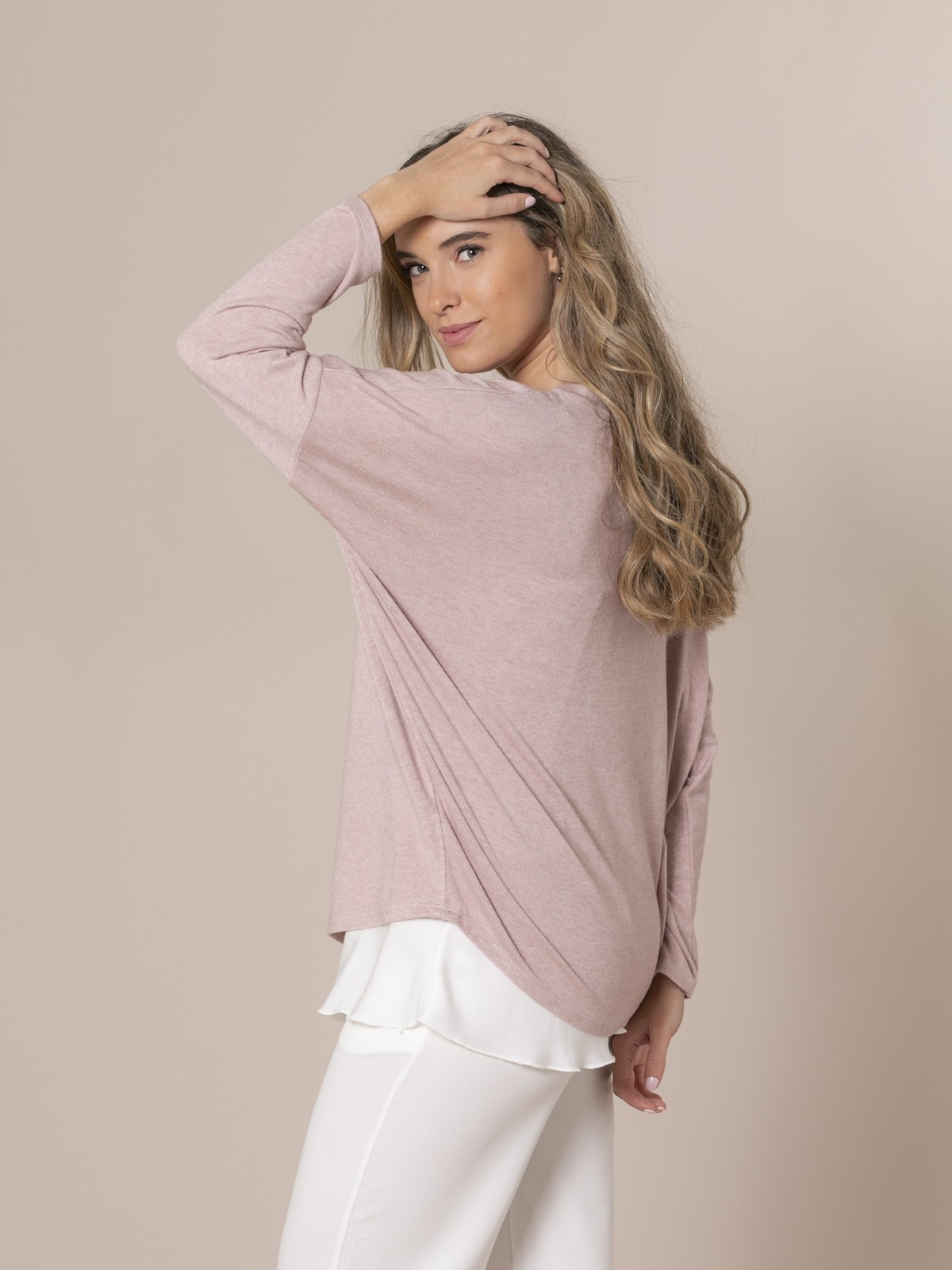 Woman Oversized boat neck sweater Pink claro