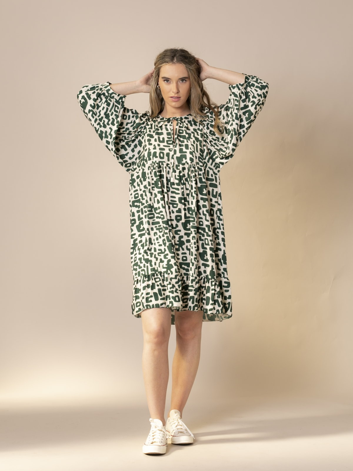 Woman Puff sleeve printed dress Khaki