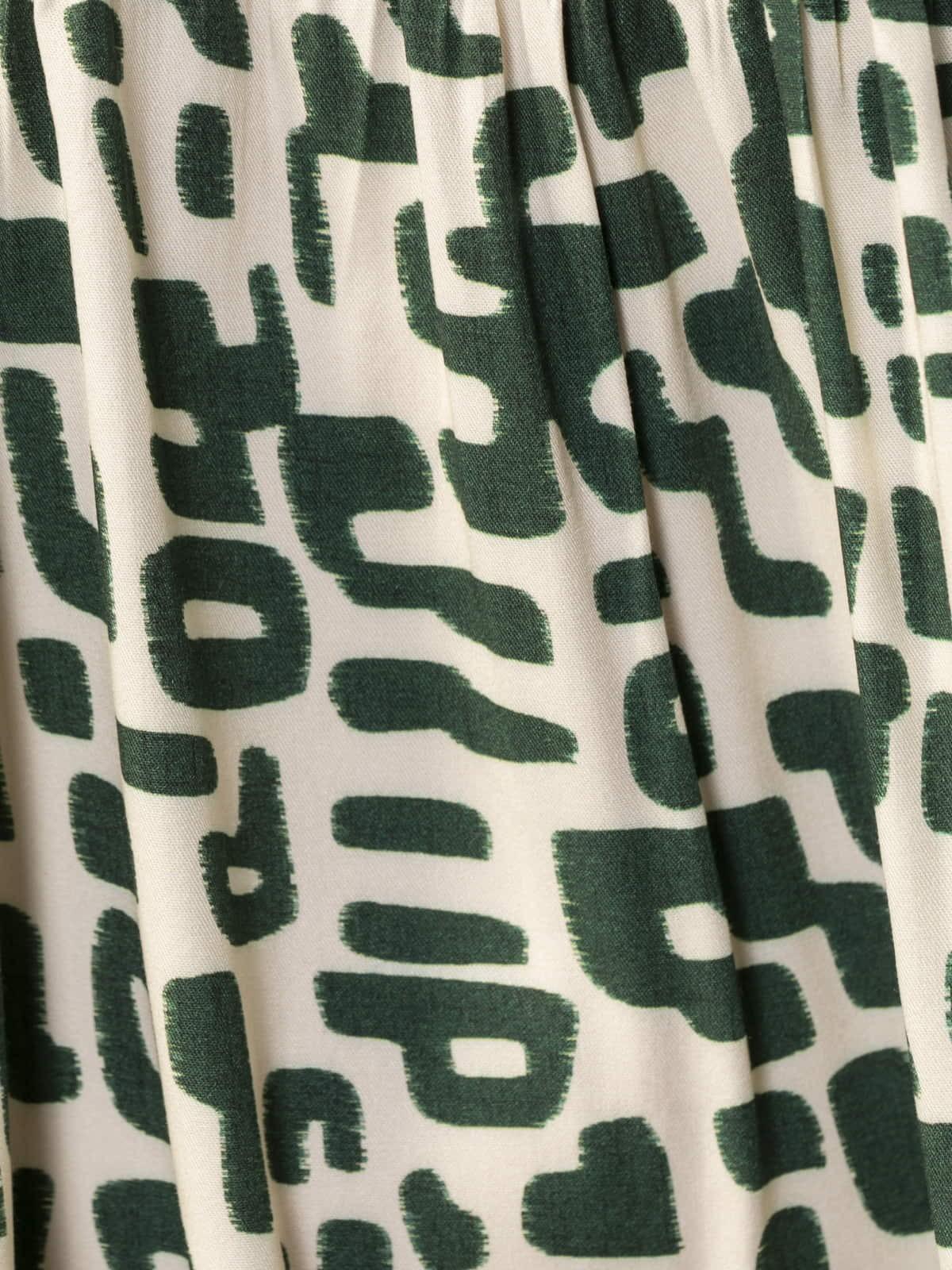Vestido estampado manga abullonada Caqui