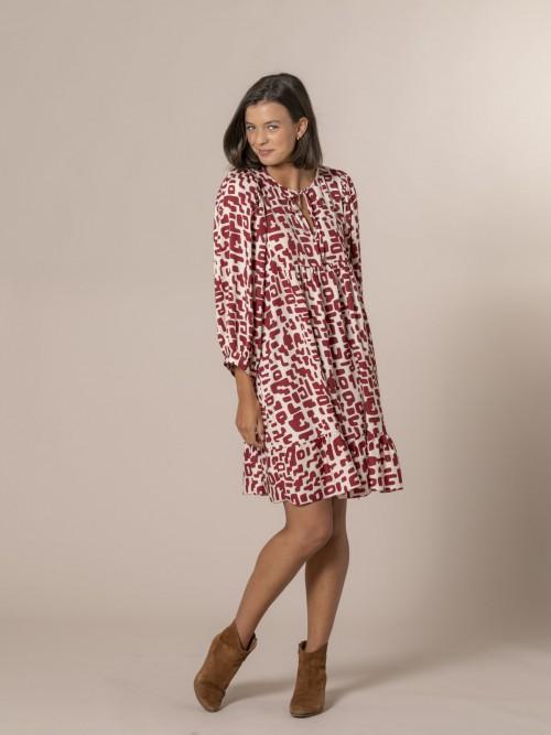 Vestido estampado manga abullonada Granate