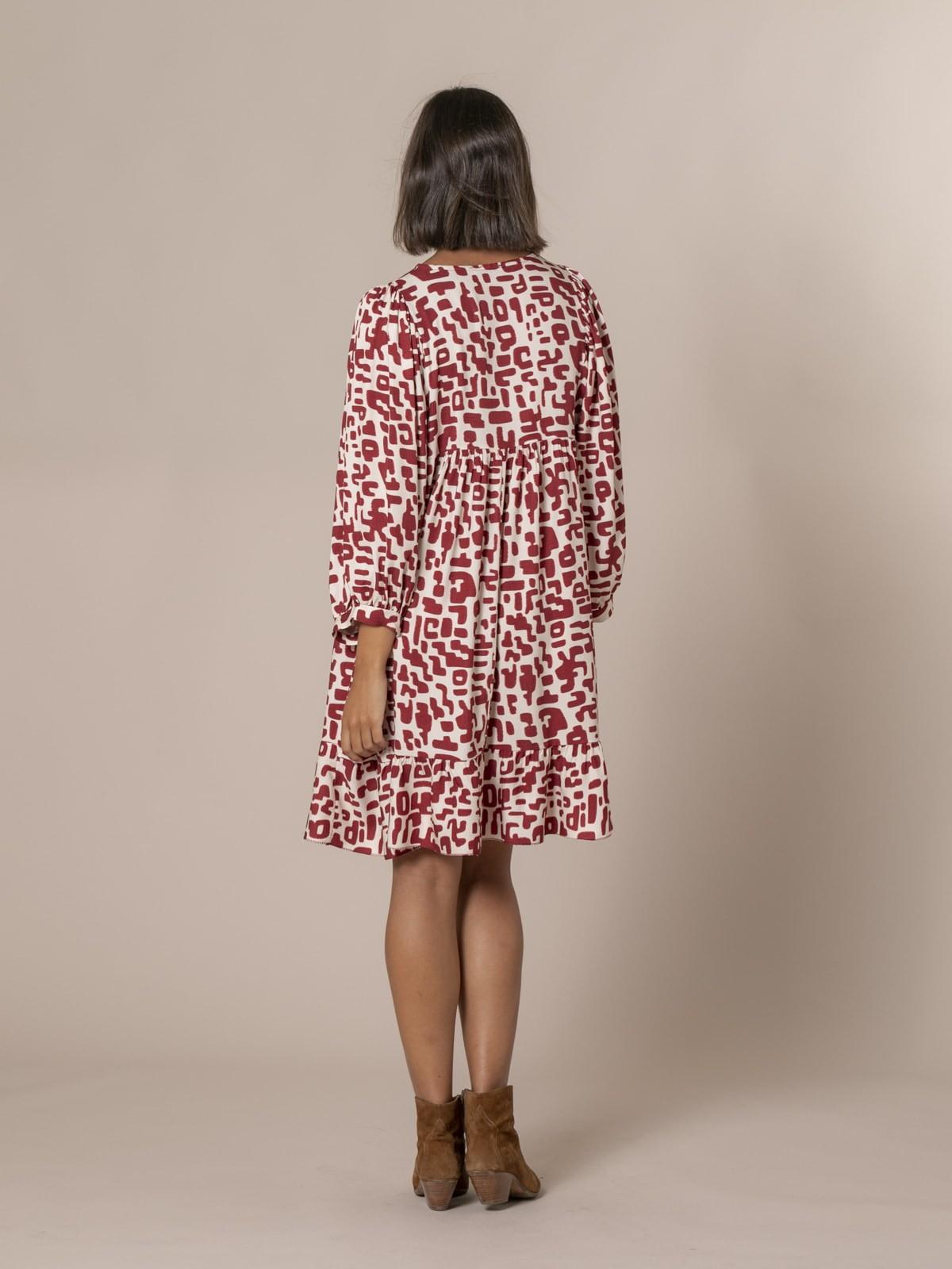 Woman Puff sleeve printed dress Granate