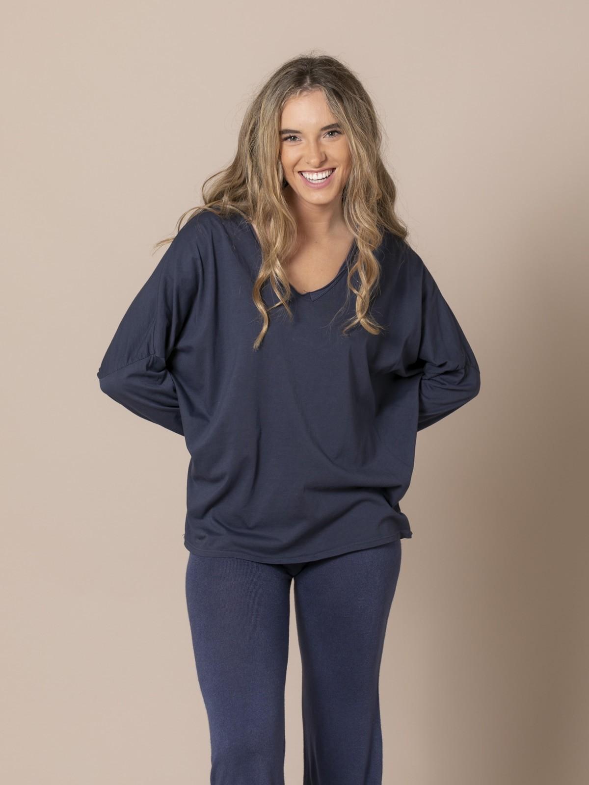 Woman Cotton V-neck T-shirt Blue Navy