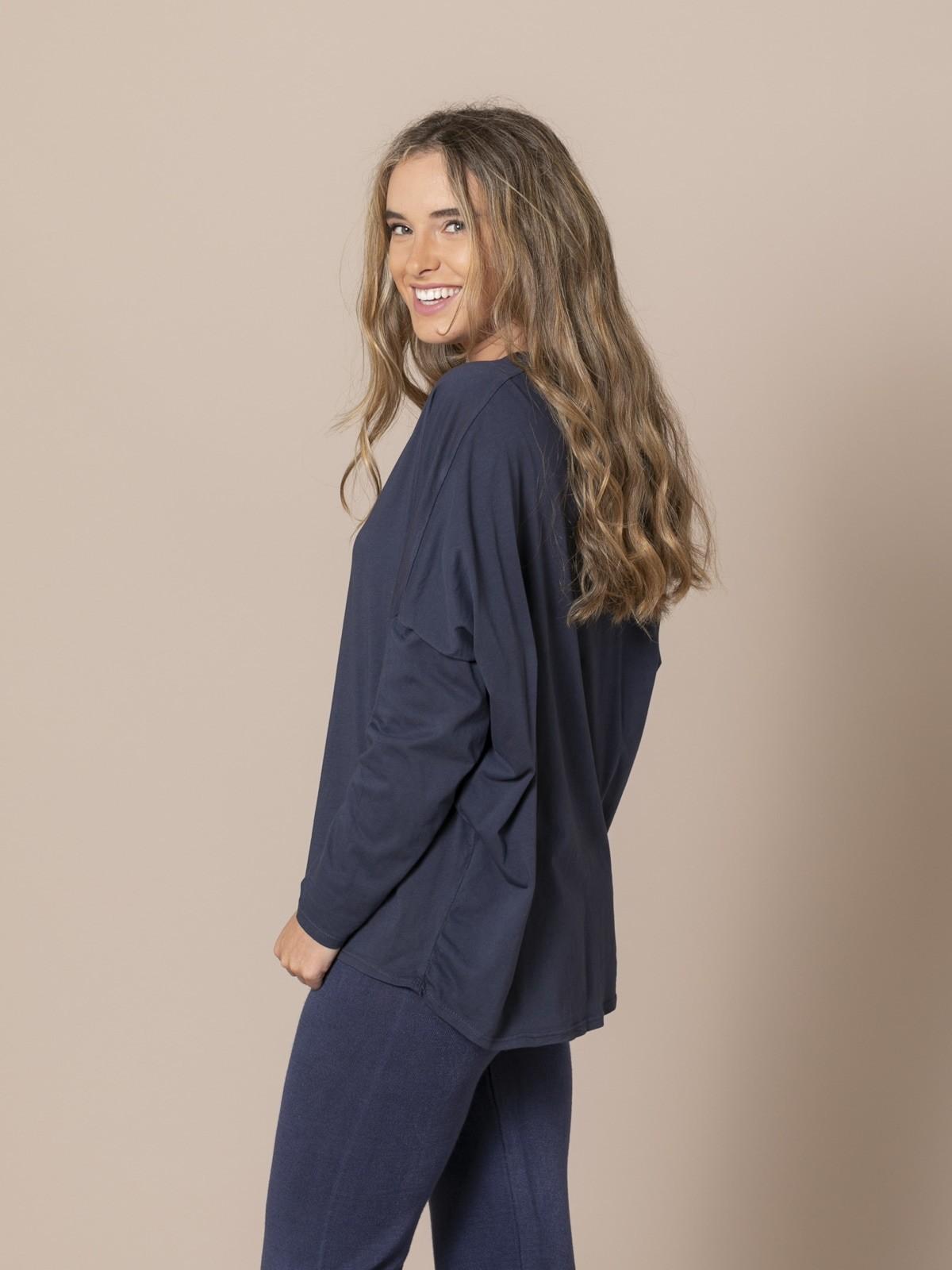 Camiseta mujer cuello pico algodón 100% Azul Marino