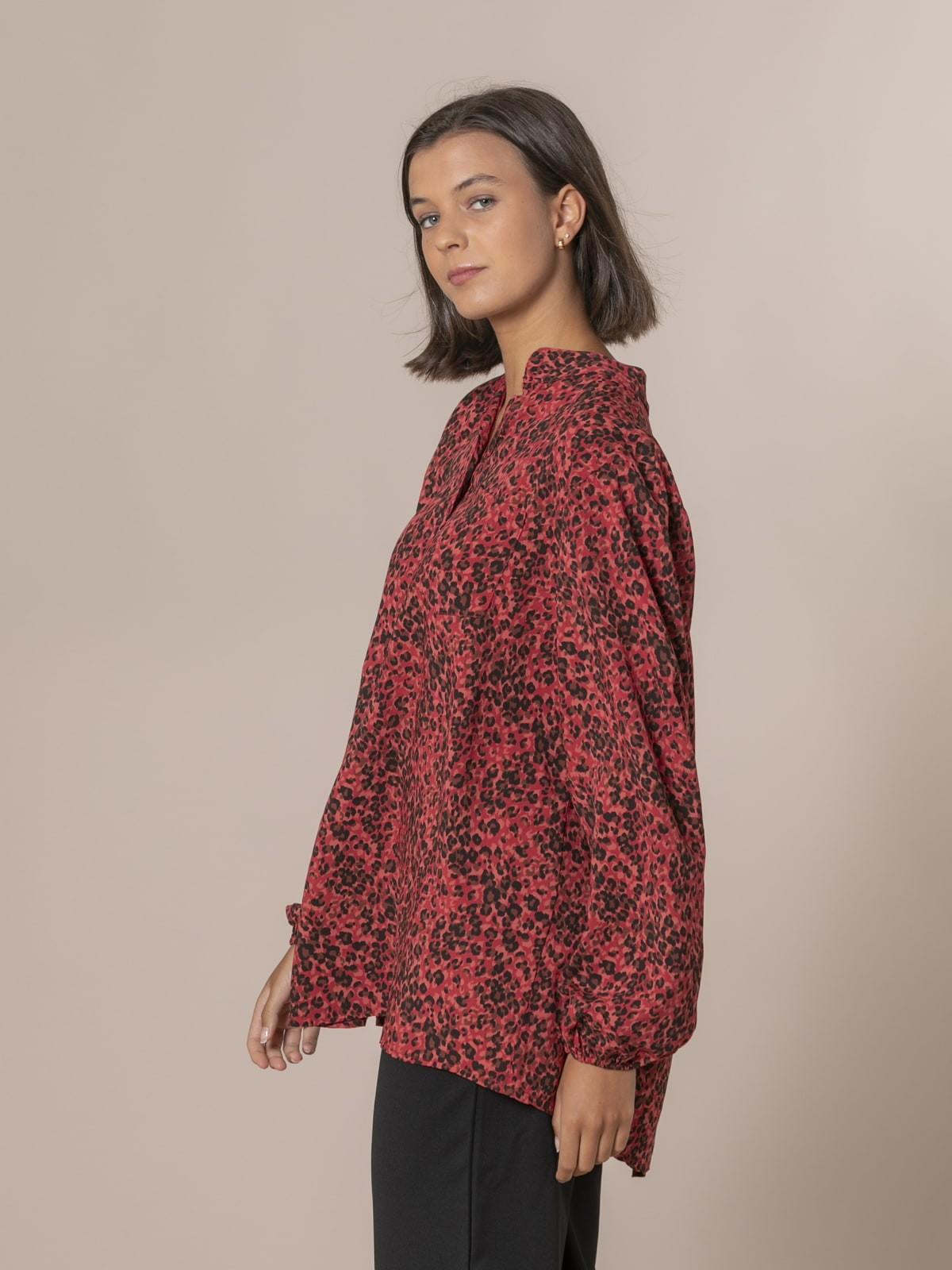 Camisa mujer botones animal print pequeñito Rojo