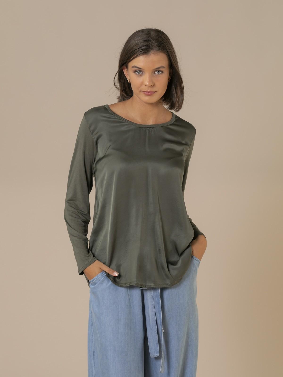 Woman Long sleeve flowy t-shirt Khaki