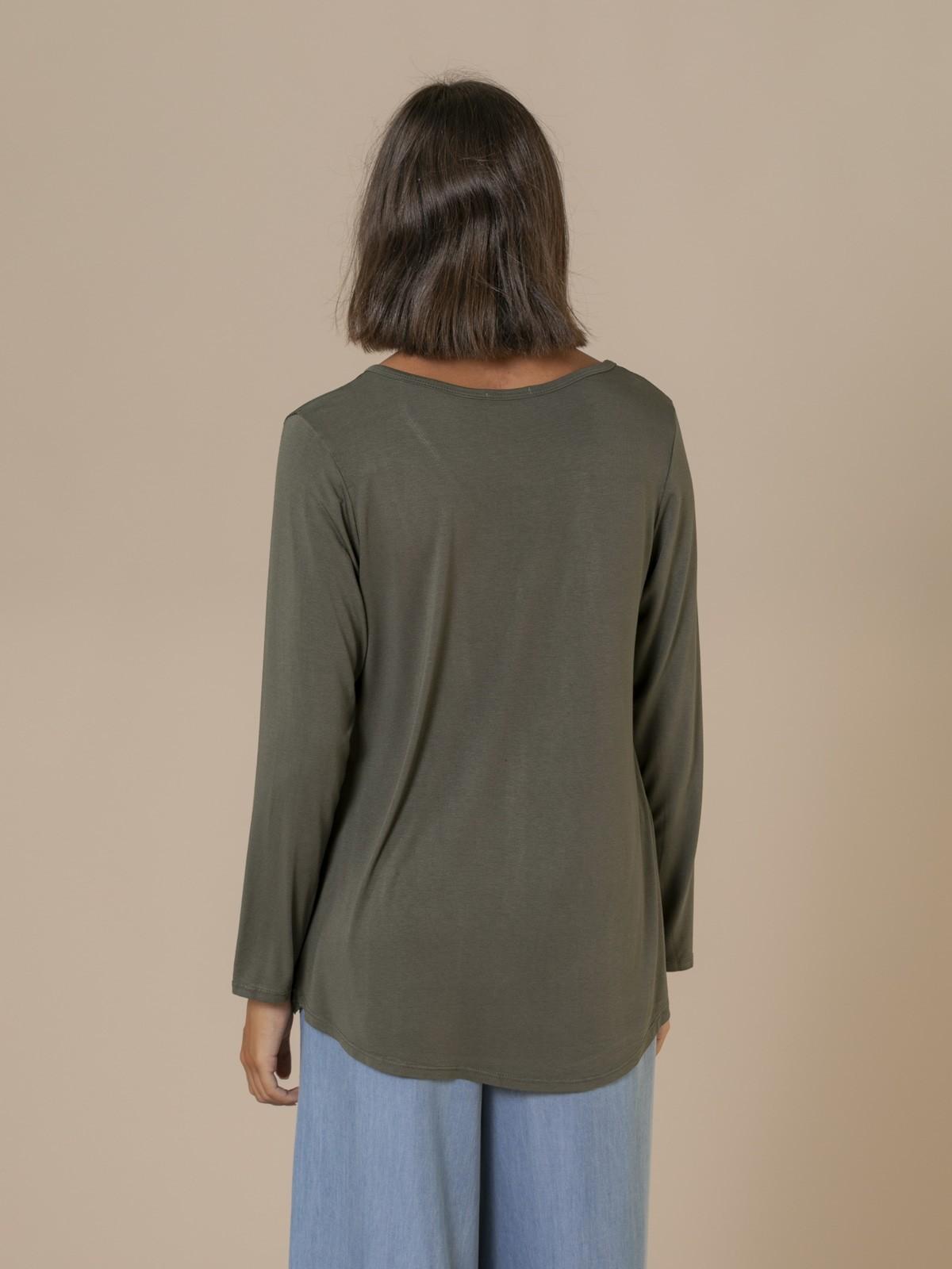 Camiseta mujer fluida manga larga Caqui