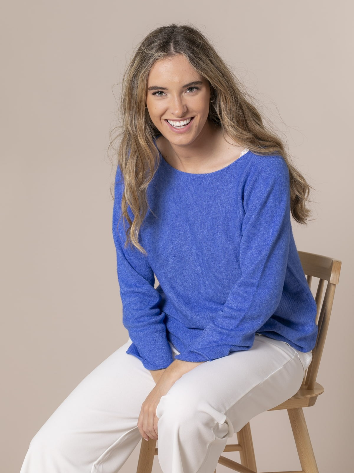 Woman Boat neck knit sweater Blue