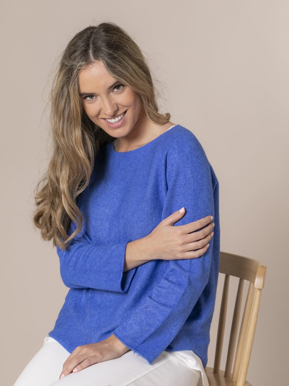 Jersey mujer de punto cuello barco Azul