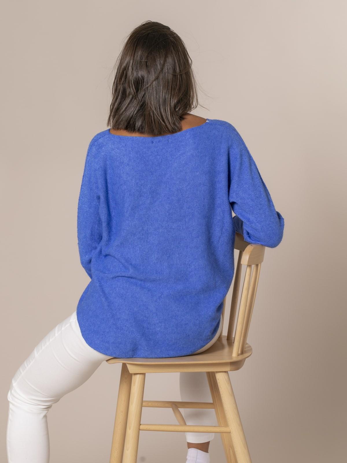 Jersey mujer de punto cuello pico Azul