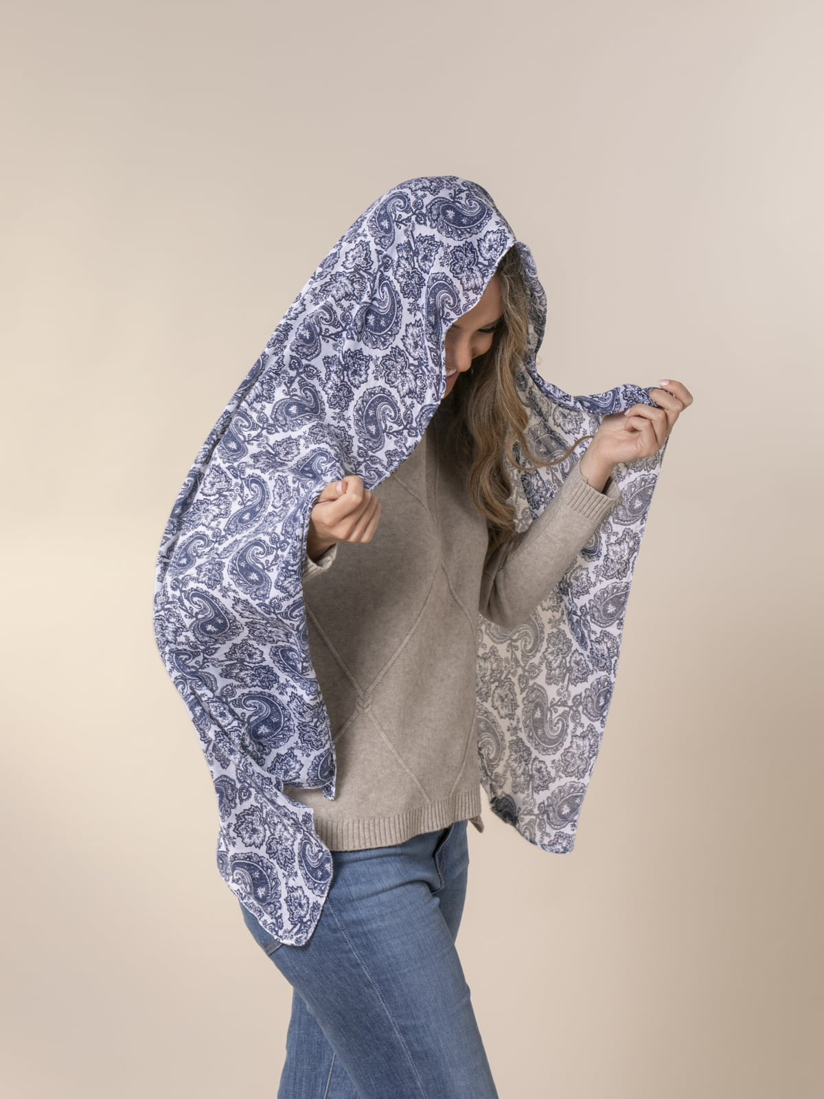 Fular mujer monocolor amebas Azul Marino