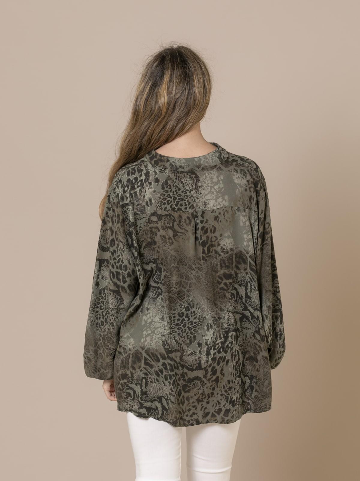 Camisa mujer botones serpiente Caqui