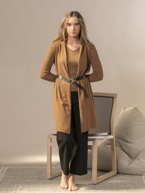 Woman Fitted cardigan Camel