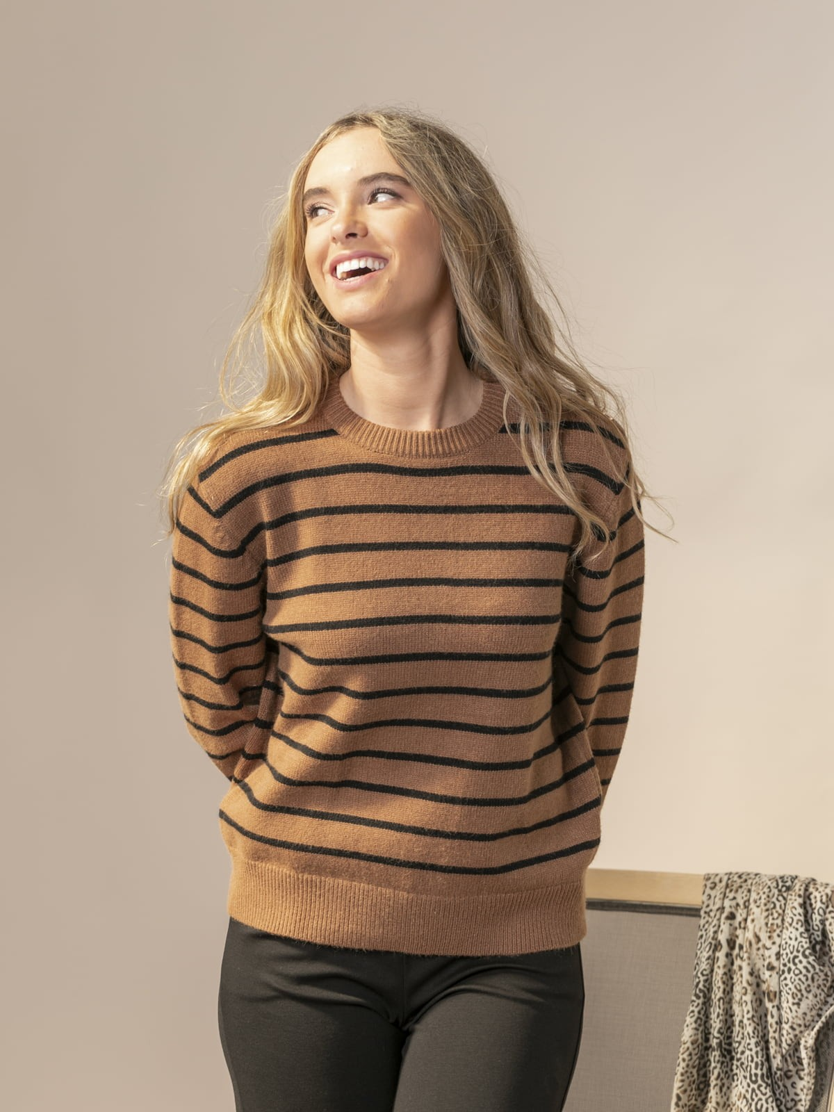 Woman Striped round neck sweater Camel