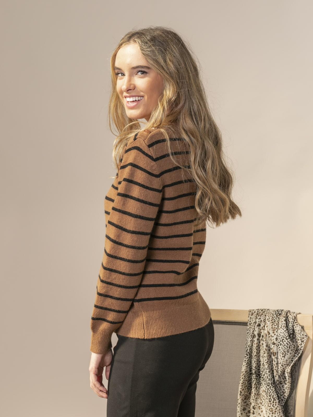 Jersey mujer cuello redondo rayas Camel