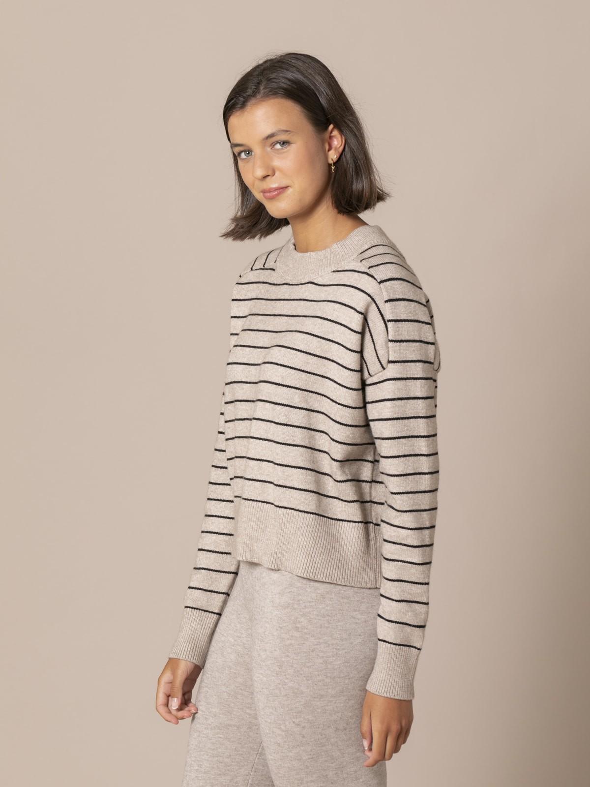 Woman Striped knit sweater Beige