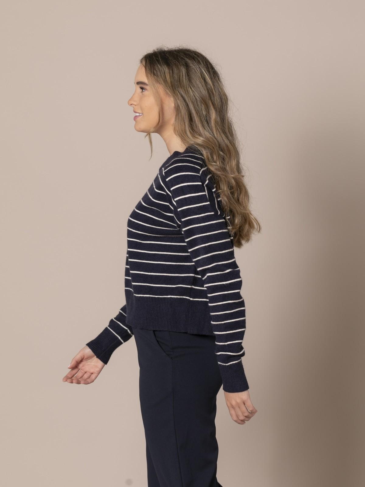 Woman Striped knit sweater Blue Navy
