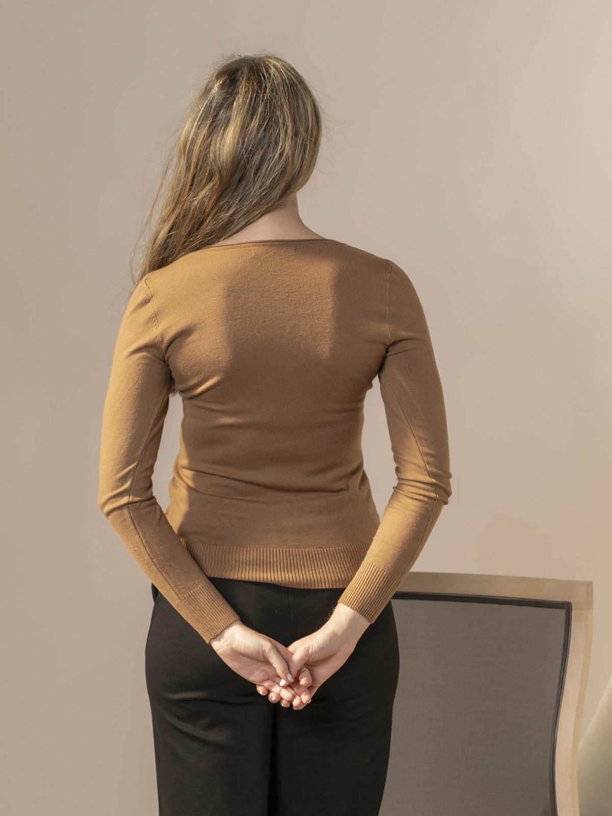 Jersey de punto básico cuello pico Camel