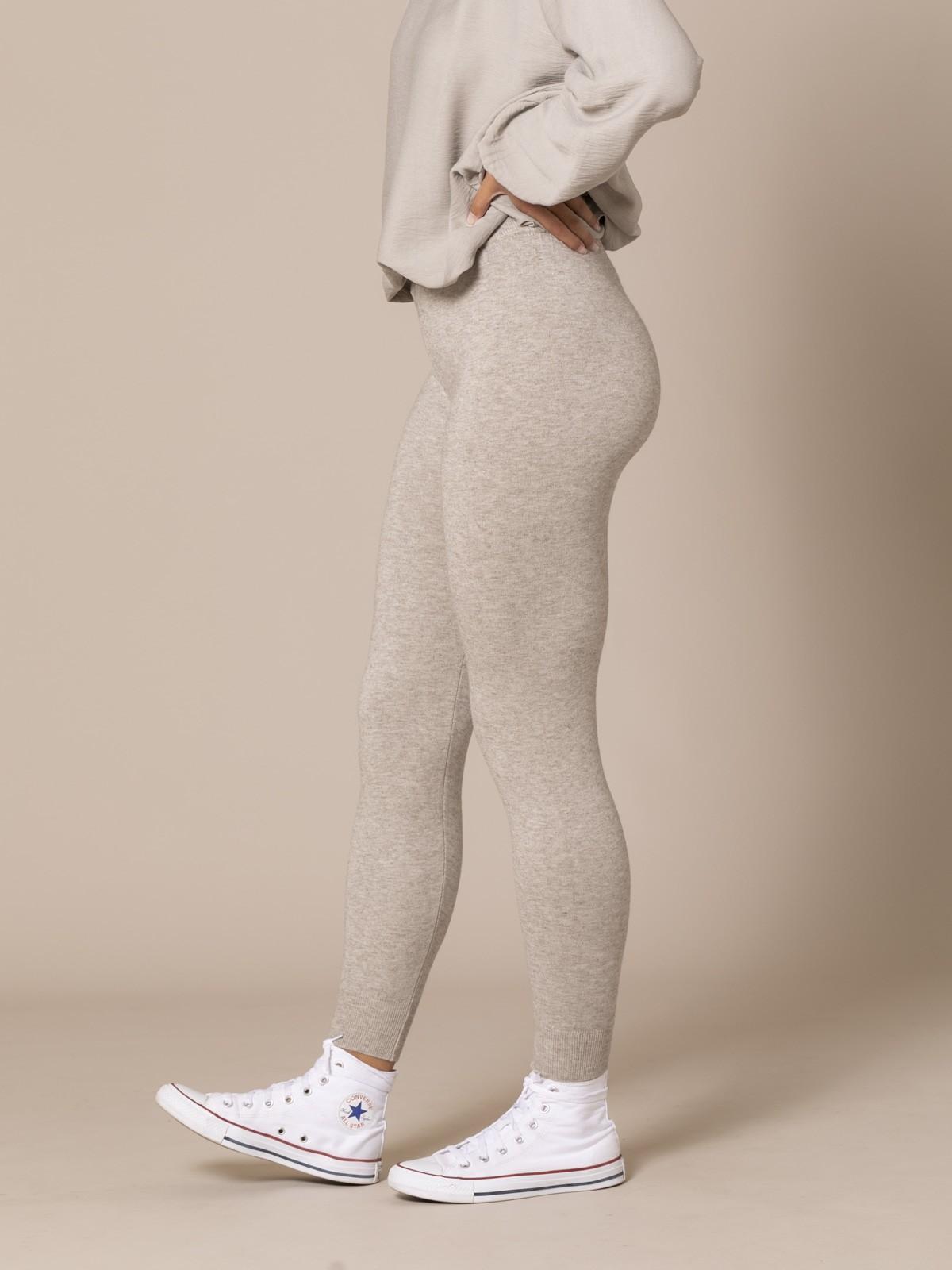Pantalón mujer de punto bajo elástico Beige